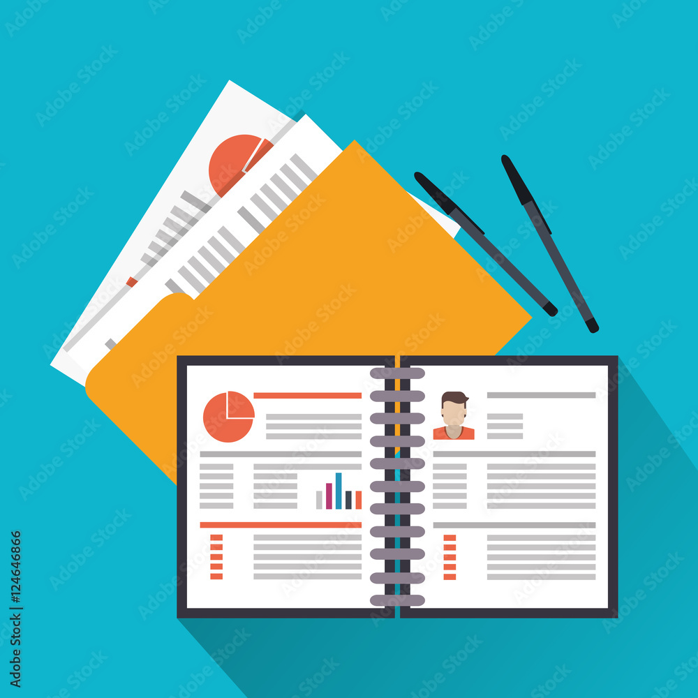 Fototapeta Document and pen icon. Human resources search employee and business theme. Colorful design. Vector illustration