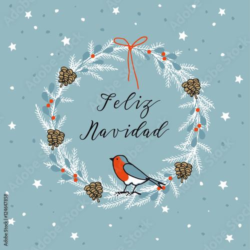Merry Christmas In Spanish.Vintage Merry Christmas Spanish Feliz Navidad Greeting