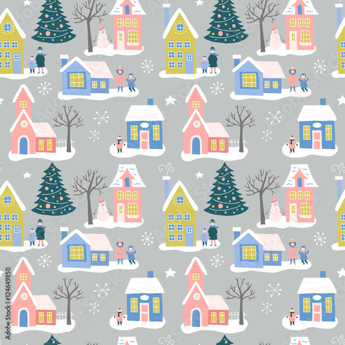 Cotton fabric Christmas holiday seamless pattern design with houses and family