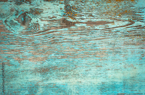 Old weathered plank painted in blue. Canvas Print