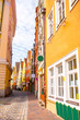 Narrow street view with colorful houses in Landshut bavarian town, Germany