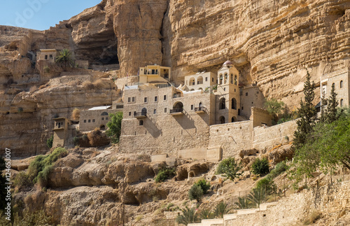Photo  St George Orthodox Monastery, located in Wadi Qelt, Israel