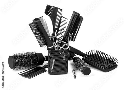 Fotografie, Obraz  Hairdressing tools on white