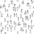 Seamless pattern of tiny people: pedestrians, people in the street, a diverse collection of tiny hand drawn men and women walking through the city