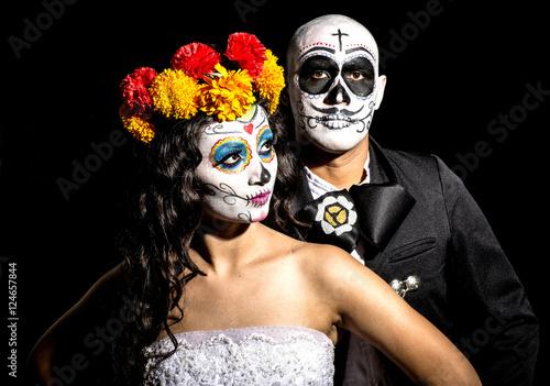 Catrin Y Catrina En Fondo Negro Buy This Stock Photo And Explore