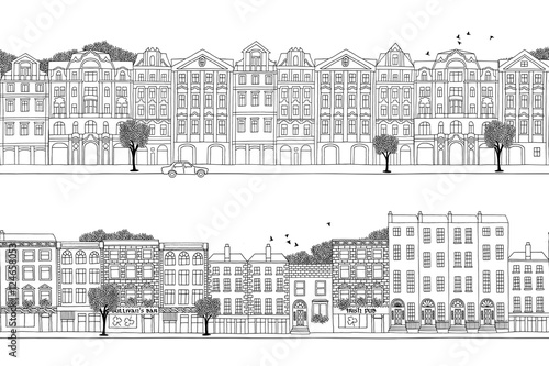 Two hand drawn seamless city banners - Prague and Dublin style houses Poster