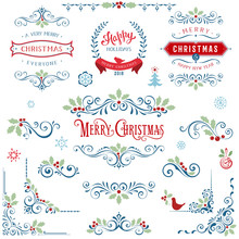 Ornate Christmas Frames And Swirl Elements With Merry Christmas Quotes And Banners, Snowflakes, Christmas Tree, Holly Berry And Bird.