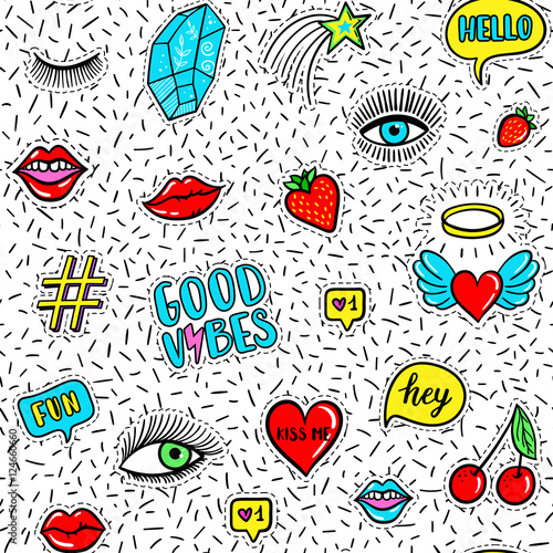 Cotton fabric Vector seamless pattern with fashion fun patches: eyes, lip, star, strawberry, cherry, crystal, Good vibes speech bubble on confetti background. Pop art stickers, patches, pins, badges 80s-90s style