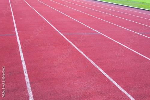 Poster Stadion running track and green grass,Direct athletics Running track at Sport Stadium