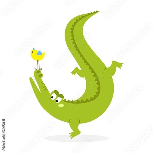 Cute crocodile character vector Poster Mural XXL