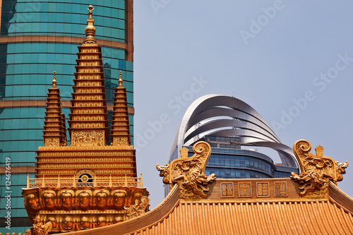 Golden Temples Dragons Roof Top Jing An Temple Shanghai China Poster