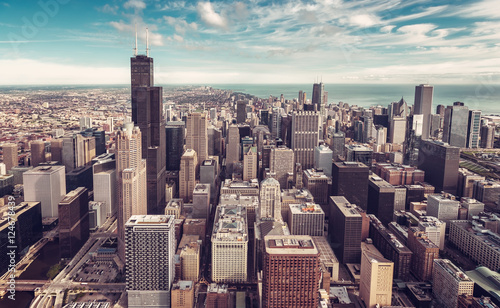 Poster Chicago Aerial view of Chicago Downtown Skyline