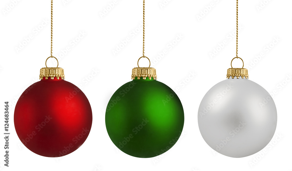 Fototapety, obrazy: Christmas balls over white background