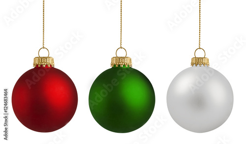 Fotobehang Bol Christmas balls over white background