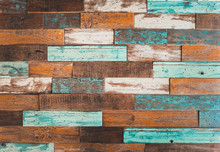 The Colorful Artwork Painted On Wood Material For Vintage Wallpaper Background.