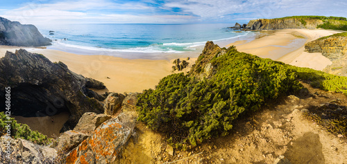 Poster Cote Panoramic view of Odeceixe Beach. Vicentina Coast Natural Park. Odesehe. Algarve region. Portugal