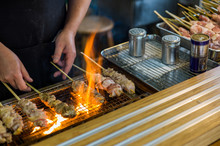 Yakitori Chicken Stand In Japan At Street Food Vendor Market, Grilled Satay. Japanese Food.
