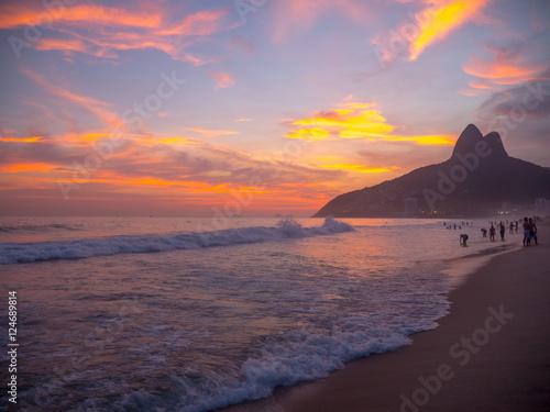 Ipanema Beach at Sunset in Rio de Janeiro Canvas Print