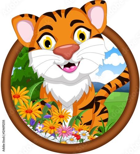 Staande foto Zoo tiger cartoon in frame
