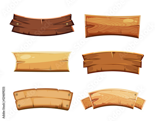 Fototapeta Cartoon wood blank banners and ribbons, western signs vector set obraz
