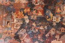 Wall Paintings Art In Suphan Buri At Thailand. 05/06/2016