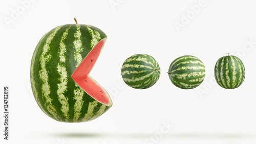 funny pacman watermelon Canvas-taulu
