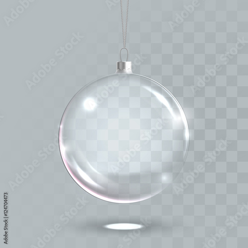 Deurstickers Bol Transparent christmas glass ball 3D vector isolated