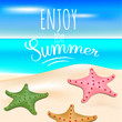 """Tropical sea and a sandy beach with starfishes. Summer holidays. Text """"Enjoy the summer"""". Vector EPS10 realistic illustration."""