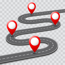 Vector Pathway Road Map With GPS Route Pin Icon