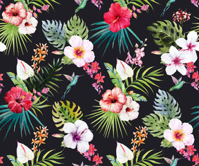 FototapetaWatercolor tropical floral pattern