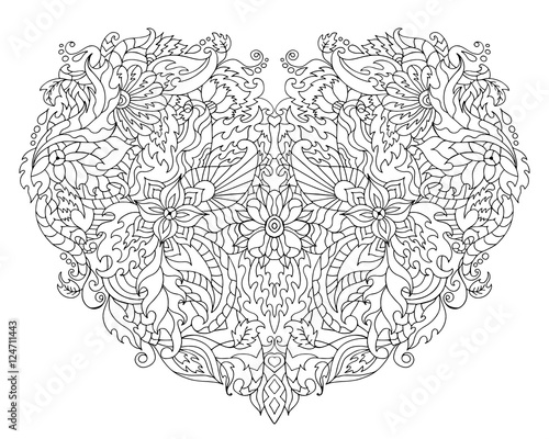 Hand drawn flower heart