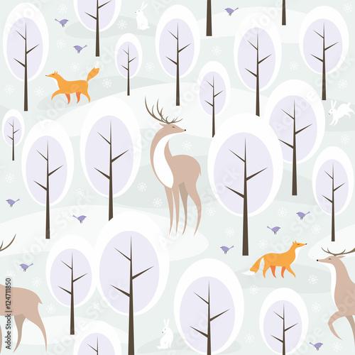 bozenarodzeniowy-bezszwowy-wzor-z-wizerunkiem-zima-las-i-dzikie-zwierzeta