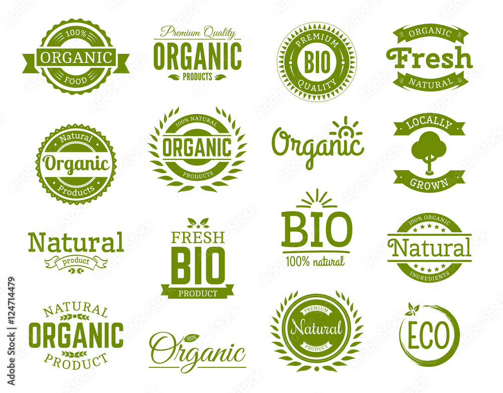 Fototapety, obrazy: Retro style set of 100% bio, natural, organic, eco, healthy, premium quality food labels. Logo templates with vintage elements in green color for identity, packaging. Set of vector badges.