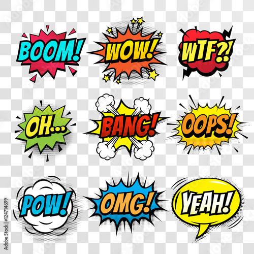 Fotografia  Vector comic speech bubbles set with words