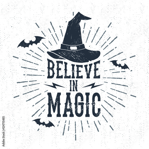 Foto auf Gartenposter Halloween Hand drawn Halloween label with textured witch hat vector illustration and