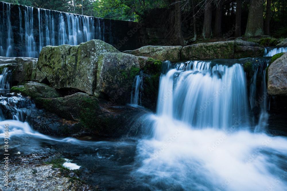 Wild Waterfall in beautiful scenery of Karkonosze Mountains in Karpacz, Poland