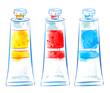 Illustration of three paint tubes