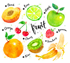 Watercolor set of fruit with lettering