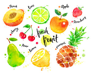 Watercolor colorful set of fruit