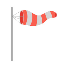 Meteorology Windsock Inflated By Wind. Vector