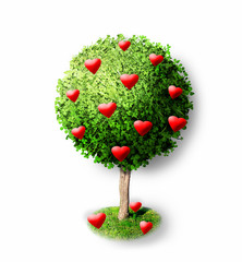 Red hearts on green tree