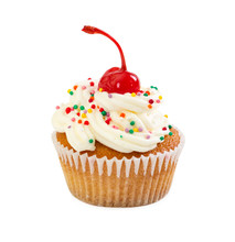 Cupcake With Cream And Maraschino Cherry, Decorated With Colorful