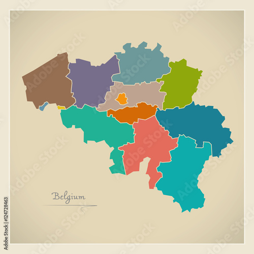 Photo Belgium map artwork colour illustration