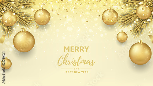 merry christmas and happy new year background beautiful gift card with golden balls on fir