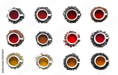 Photo sur Toile The collection of different teas in cups.