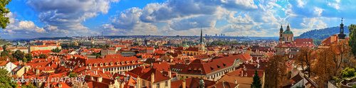Photo  Panorama of Prague on a sunny day. HDR - high dynamic range