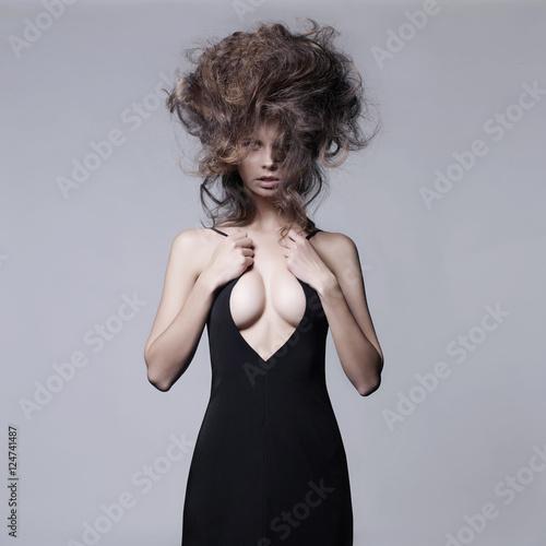 Küchenrückwand aus Glas mit Foto womenART Sensual woman with volume wavy hair