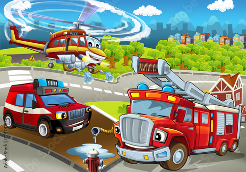 Fototapety, obrazy: Cartoon stage with different machines for firefighting - colorful and cheerful scene - illustration for children