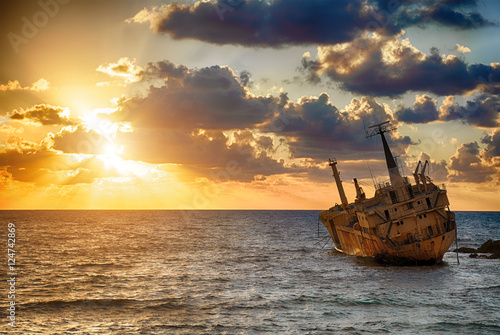 Canvas Prints Ship famous boat EDRO III shipwrecked. Paphos. Cyprus.
