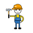 Builder handyman character in a safety helmet holding a hammer tool, vector icon isolated.